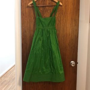 JCrew green silk party dress fitted bodice/trim